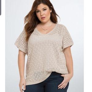 Torrid crochet v neck pullover natural color sweat